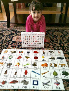 photo of a little girl with the armenian giant puzzle